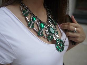 jewels zara gunmetal statement necklace necklace emerald green rhinestones