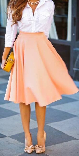 skirt blouse shoes peach skirt peach long skirt maxi skirt orange skirt\ flowy skirt fashion