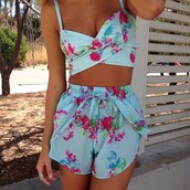 shorts,tropical,summer,matching set,t-shirt,summer outfits,floral,matching shorts and top,crop tops,floral outfit,tank top,blouse,set,floral tank top,flowered shorts,floral #set,spring outfits,spring,spring summer 2014,top,light blue,matching skirt and top,two-piece,cute,blue,pink,purple,fashion,romper,floral dress,beautiful,style
