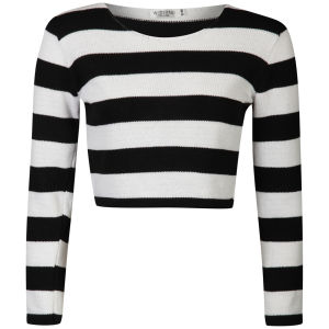 Moku Women's Crop Monochrome Stripe Jumper - Black/White 			Womens Clothing | TheHut.com