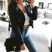 jacket,leather jacket,leather,black,black bag,bag,crop tops,crop,cropped,jeans,denim,perfecto