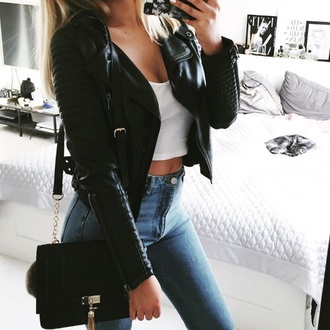 jacket leather jacket leather black black bag bag crop tops crop cropped jeans denim perfecto