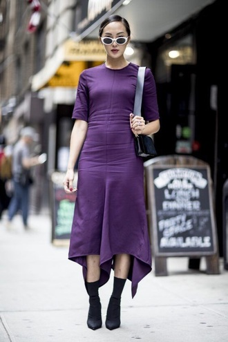 dress purple purple dress sunglasses white sunglasses boots midi dress asymmetrical asymmetrical dress streetstyle