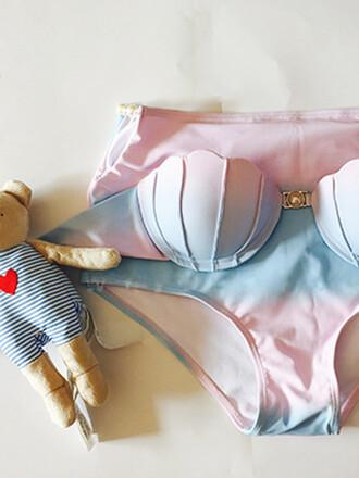 swimwear mynystyle mermaid shell ombre pink bikini summer