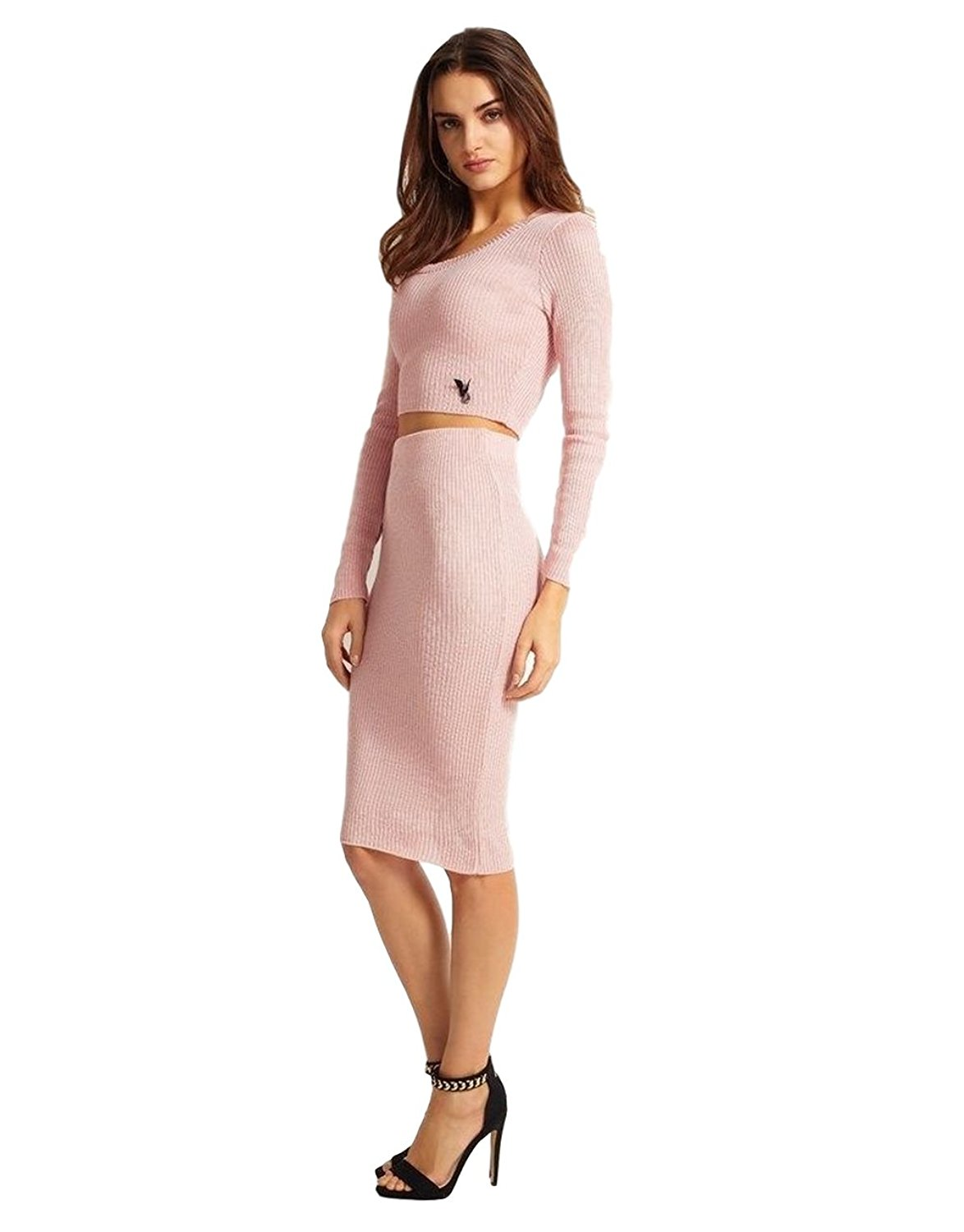 Ex Lipsy Pink High Waist Ribbed Knit Bodycon Pencil Skirt (US 8) at Amazon Women's Clothing store: