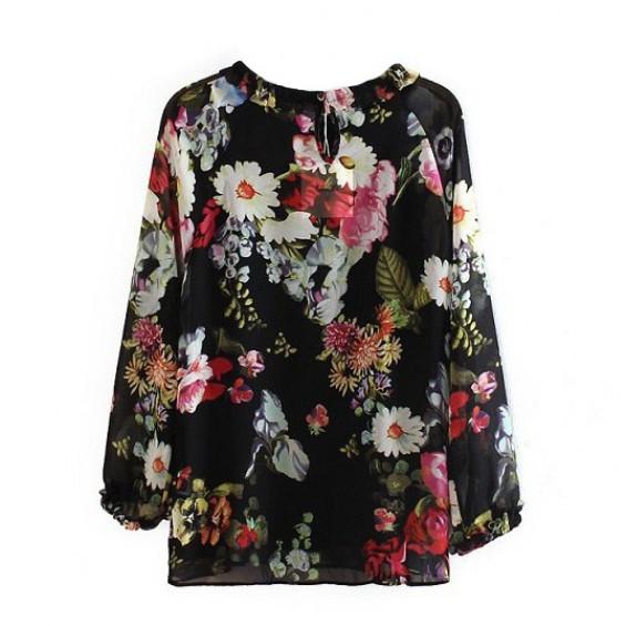Black sheer floral blouse