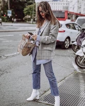 jacket blazer grey blazer plaid blazer plaid shirt striped shirt jeans blue jeans boots white boots sunglasses