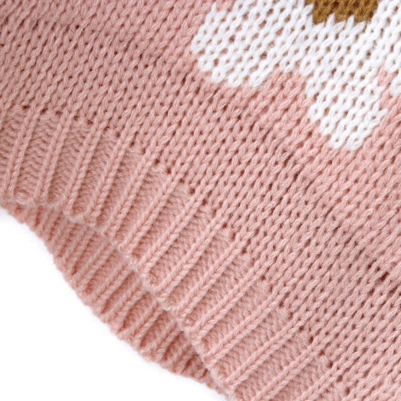 Pink Long Sleeve Sunflower Pattern Knit Sweater - Sheinside.com