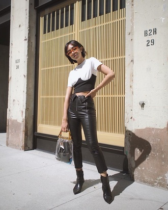 pants black pants leather pants black leather pants bag transparent bag boots t-shirt white t-shirt clear
