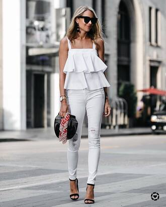 top ruffled top white jeans tumblr ruffle all white everything sunglasses denim jeans sandals sandal heels high heel sandals bag shoes