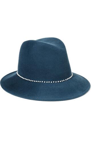 pearl embellished fedora blue wool hat