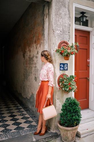 skirt tumblr orange midi skirt pleated skirt orange skirt shirt printed shirt bag nude bag pumps pointed toe pumps high heel pumps blogger