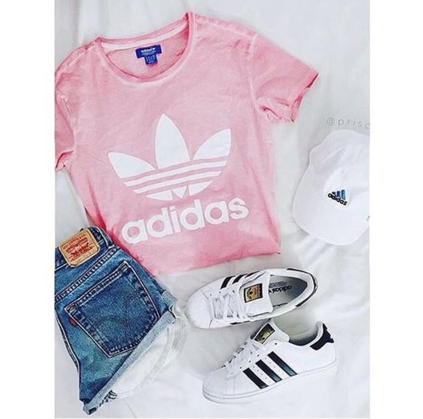 shoes, adidas, shirt, pink, white, black - Wheretoget