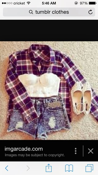 shirt white top flannel studded sandals shorts cardigan shoes