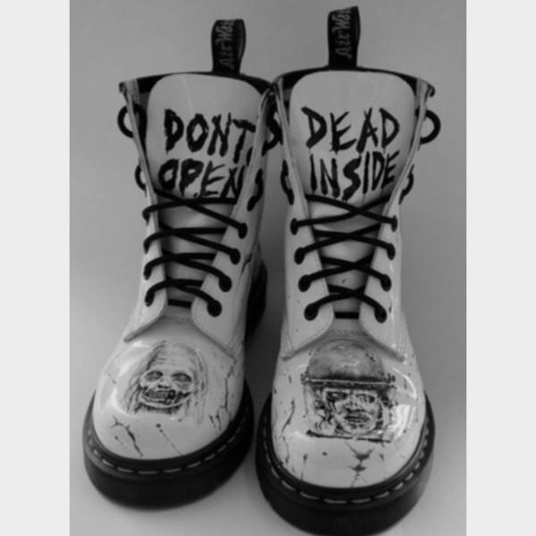 shoes boots white DrMartens black lace don't open dead inside the walking dead twd cute grunge zombie combat boots