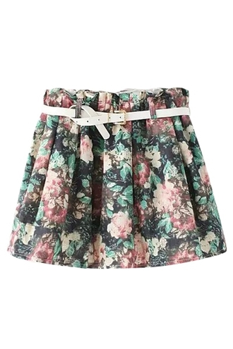 skirt floral floral pattern floral print skirt black floral print skirt belt white belt elastic elastic waist summer summer skirt mini skirt skater skirt floral swimwear summer collection 5 seconds of summer clothes vintage casual