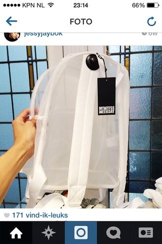 white bag bag style wit witte tas tas white bags see through see true bag