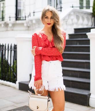 top ruffled top tumblr red top ruffle shorts denim denim shorts white shorts bag white bag