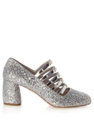 glitter high pumps silver shoes