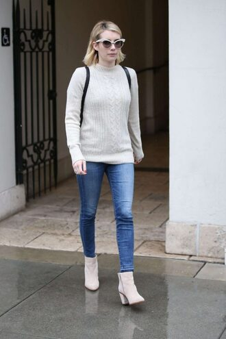 shoes boots ankle boots fall outfits fall sweater emma roberts fall colors jeans denim streetstyle celebrity