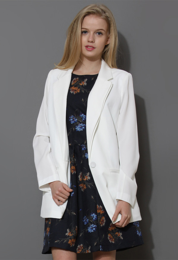 coat charms one-button boyfriend white blazer