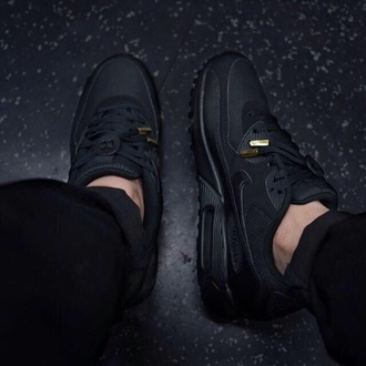 nike air nike air max 90 triple black black lace gold tips shoes air max black nike air max 1 black nike air max sneakers black shoes all black everything mens shoes
