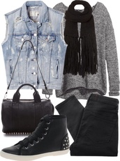 jacket,denim,vest,denim vest,ripped,sweater,oversized sweater,scarf,black scarf,black shoes,shoes,bag,pants