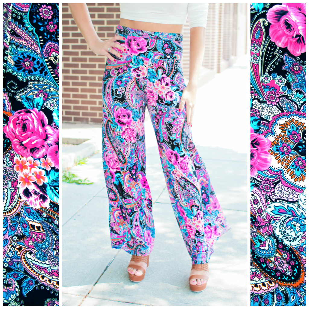 Paisley and Floral Fuschia Palazzo Pants | uoionline.com: Women's Clothing Boutique