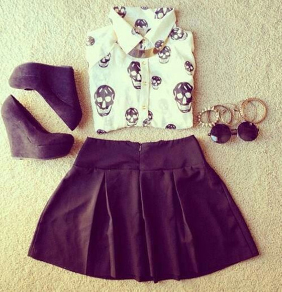 blouse white blouse shoes skully skull blouse skull skirt jewels