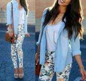 jeans,floral,blouse,pants,high waisted jeans,style,floral pants,cardigan,spring,patterened,clothes