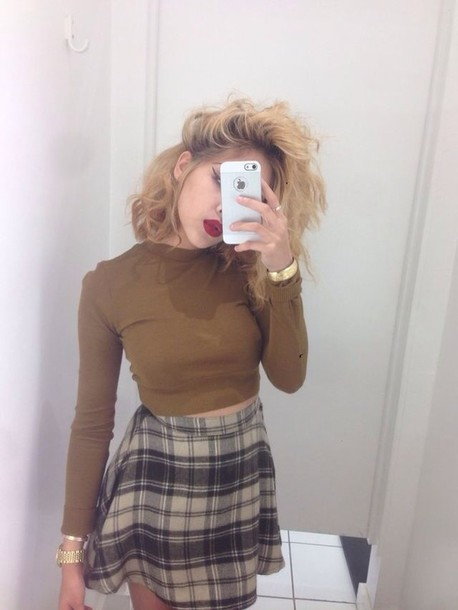skirt plaid crop tops high waisted shirt plaid skirt grey
