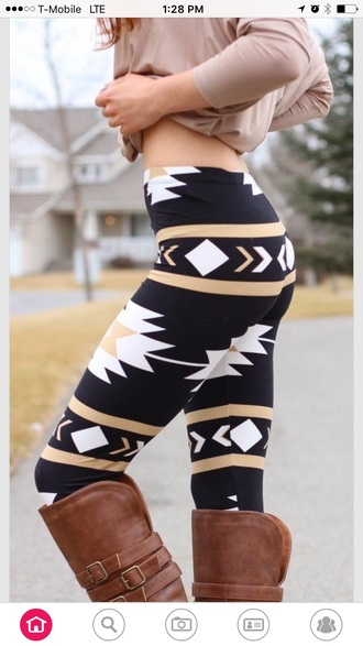 leggings black aztec leggings