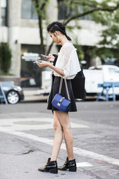 skirt,tumblr,boots,black boots,mid heel boots,black skirt,mini skirt,shirt,white shirt,bag,chloe,chloe bag,blue bag,streetstyle,mini skirt and ankle boots