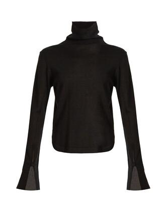 sweater silk wool black