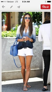 blouse,dip dye blouse,alessandra ambrosio,summer,blue shirt,flowy,fade,white,blue,button down shirt,shoes,top,clothes,celebrity style,shirt,ombre,black,grey,ombre shirt,jewels