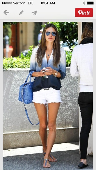 blouse dip dye blouse alessandra ambrosio summer blue shirt flowy fade white blue button down shirt shoes top clothes celebrity style shirt ombre black grey ombre shirt jewels