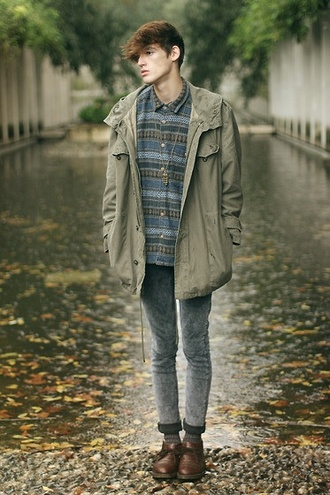 coat clothes model menswear shoes cheap monday asos paris framce lookbook raincoat rain blue fade khaki hooded parker hooded parka ciry fashion boots necklace guys green brown dark skinny vintage skinny jeans streetstyle gender neutral