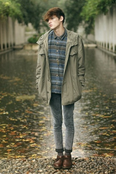 coat clothes model model menswear shoes cheap monday asos paris framce lookbook raincoat rain blue fade khaki hooded parker hooded parka ciry fashion boots necklace guys green brown dark skinny vintage skinny jeans streetstyle Gender Neutral