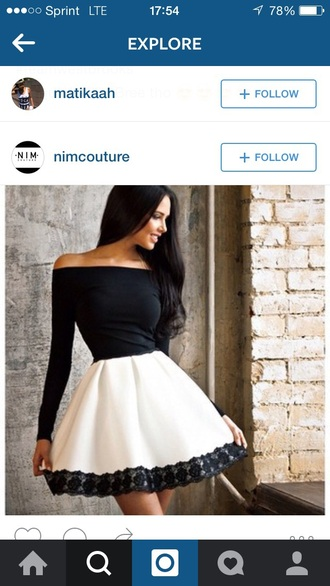 skirt pleated skirt high waisted skirt peplum top long sleeves black and white black top off the shoulder outfit outfit idea summer outfits date outfit cute outfits spring outfits party outfits dress choies fashion style lace dressy elegant girly cute feminine classy fall outfits osgirl