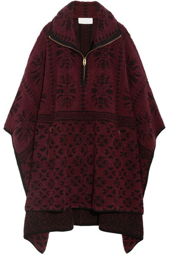 cape oversized wool burgundy top
