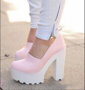 shoes,pastel color,high heels,light pink,cleated sole platforms,lug sole,pink shoes