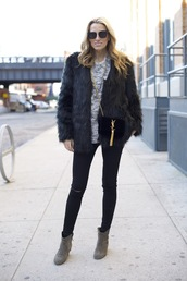 mind body swag,blogger,sweater,sunglasses,faux fur jacket,skinny jeans,black jeans,jeans,coat,shoes,bag,jewels,make-up,black fur jacket