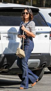 jeans,overalls,flare jeans,stripes,striped top