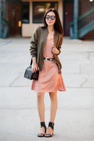 fit fab fun mom blogger dress jacket shoes bag sunglasses belt jewels pink dress bomber jacket mid heel sandals shoulder bag pink slip dress black shoulder bag silk slip dress
