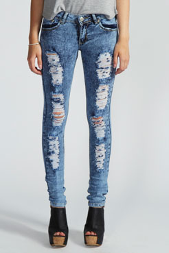 Paloma Acid Wash Ripped Skinny Jeans at boohoo.com