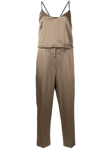 Brunello Cucinelli drawstring cropped playsuit, Women's, Size: Medium, Brown, Acetate/Viscose/Brass/Silk