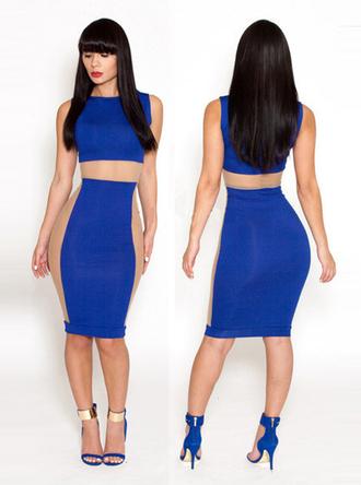dress bandage fashion sexy bqueen girl blue elegant high-end chic sapphire mesh party hot