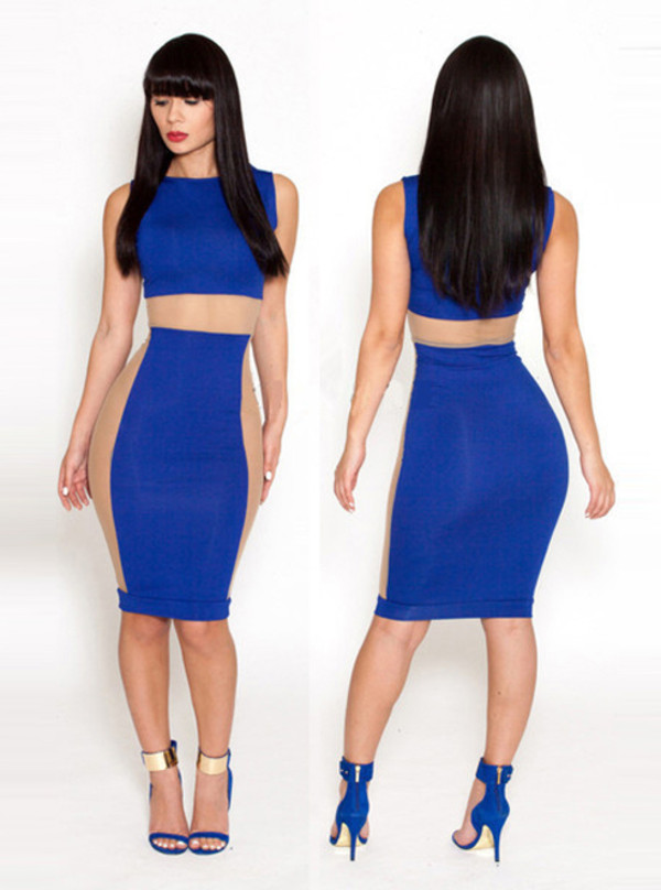dress dress bandage fashion sexy bqueen girl blue elegant high-end chic sapphire mesh party hot
