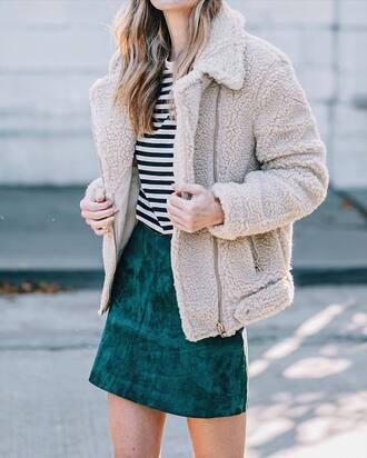 skirt green skirt tumblr mini skirt suede skirt jacket top stripes striped top nude jacket