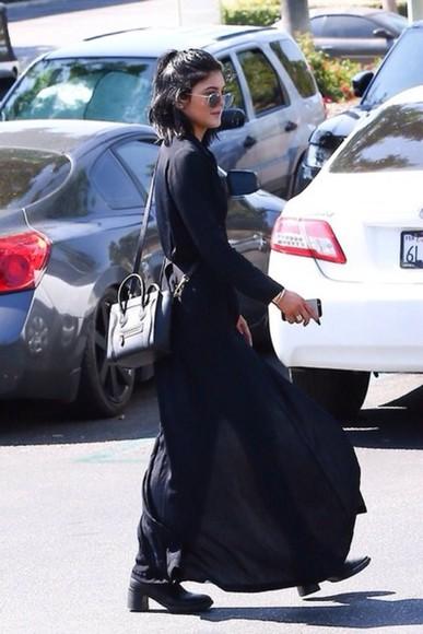 cotton kylie jenner blackdress @maxidress long sleeve dress plain dress simple split dress split leg split maxi